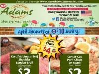 Adams hometown market (April Shower of Savings) Flyer