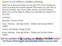 Discount Outlet (Spring And Summer Apparel) Flyer