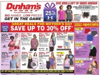 Dunham's Sports (Great Deals For Mother's Day) Flyer