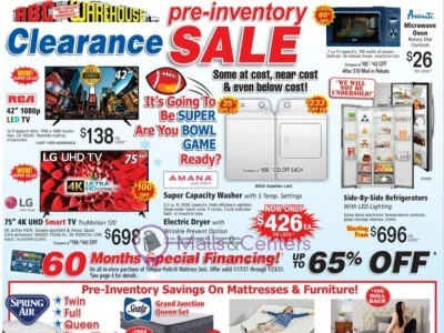 ABC Warehouse (Pre Inventory Clearance Sale) Flyer