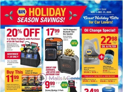 Napa Auto Parts (Holiday Season Savings) Flyer