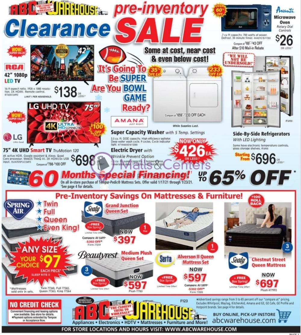 weekly ads ABC Warehouse - page 1 - mallscenters.com