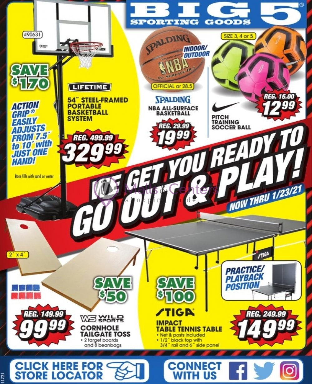 weekly ads Big 5 Sporting Goods - page 1 - mallscenters.com