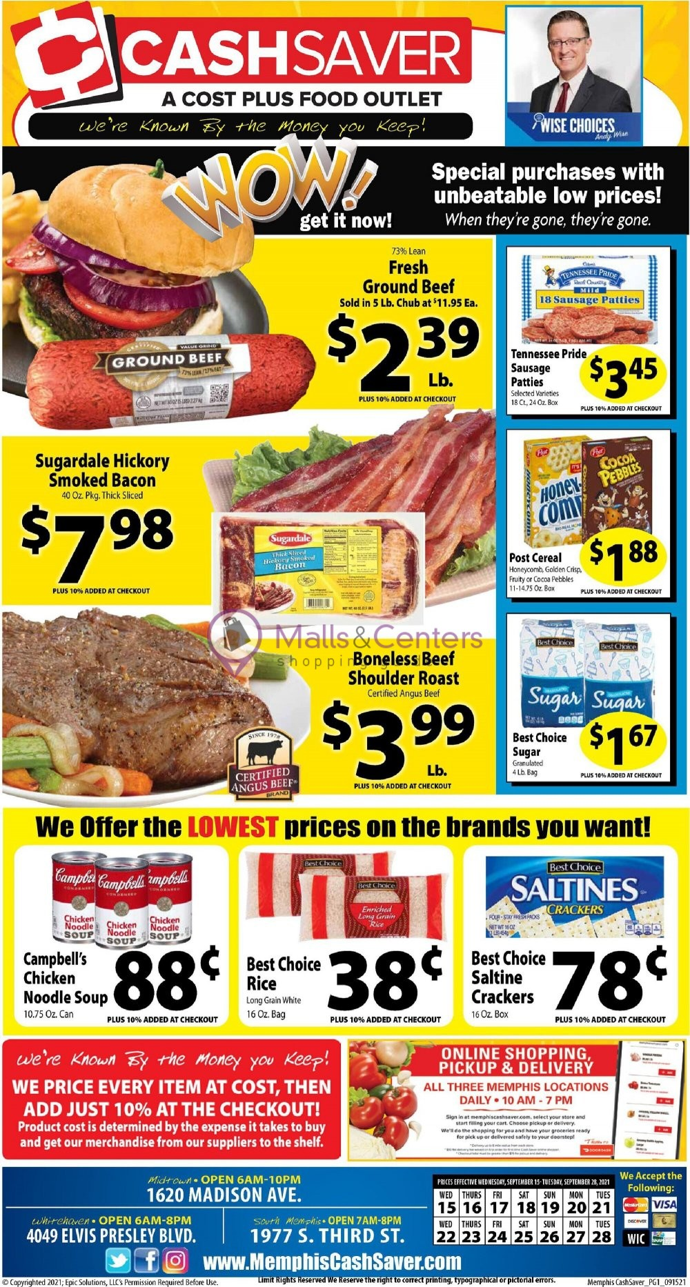 weekly ads Cash Saver Cost Plus Food Outlet - page 1 - mallscenters.com
