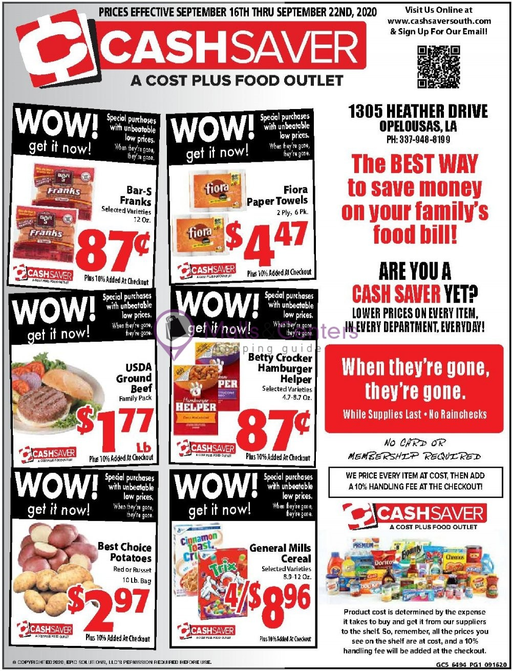 weekly ads Cash Saver South - page 1 - mallscenters.com
