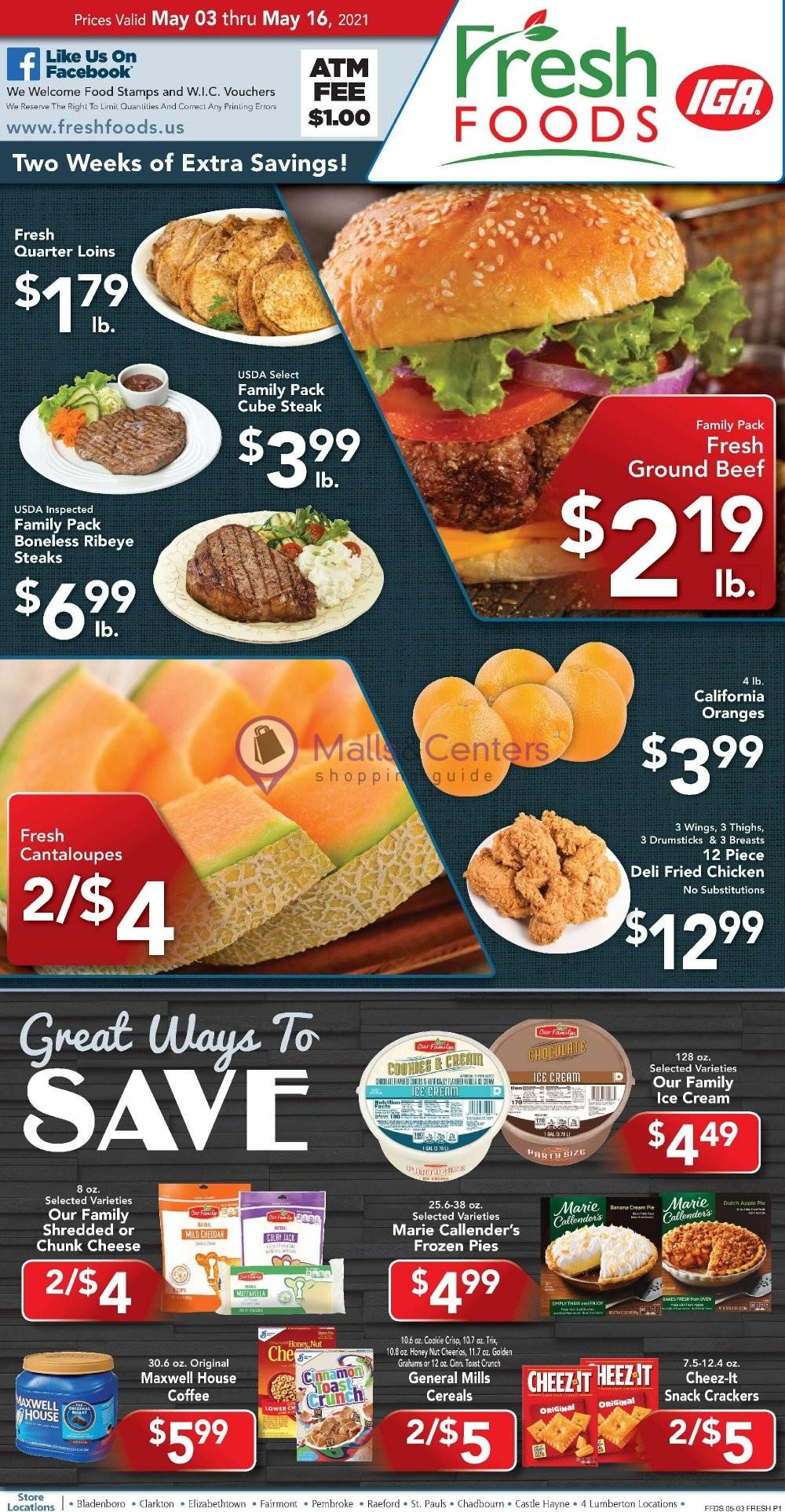 weekly ads Fresh Foods IGA - page 1 - mallscenters.com