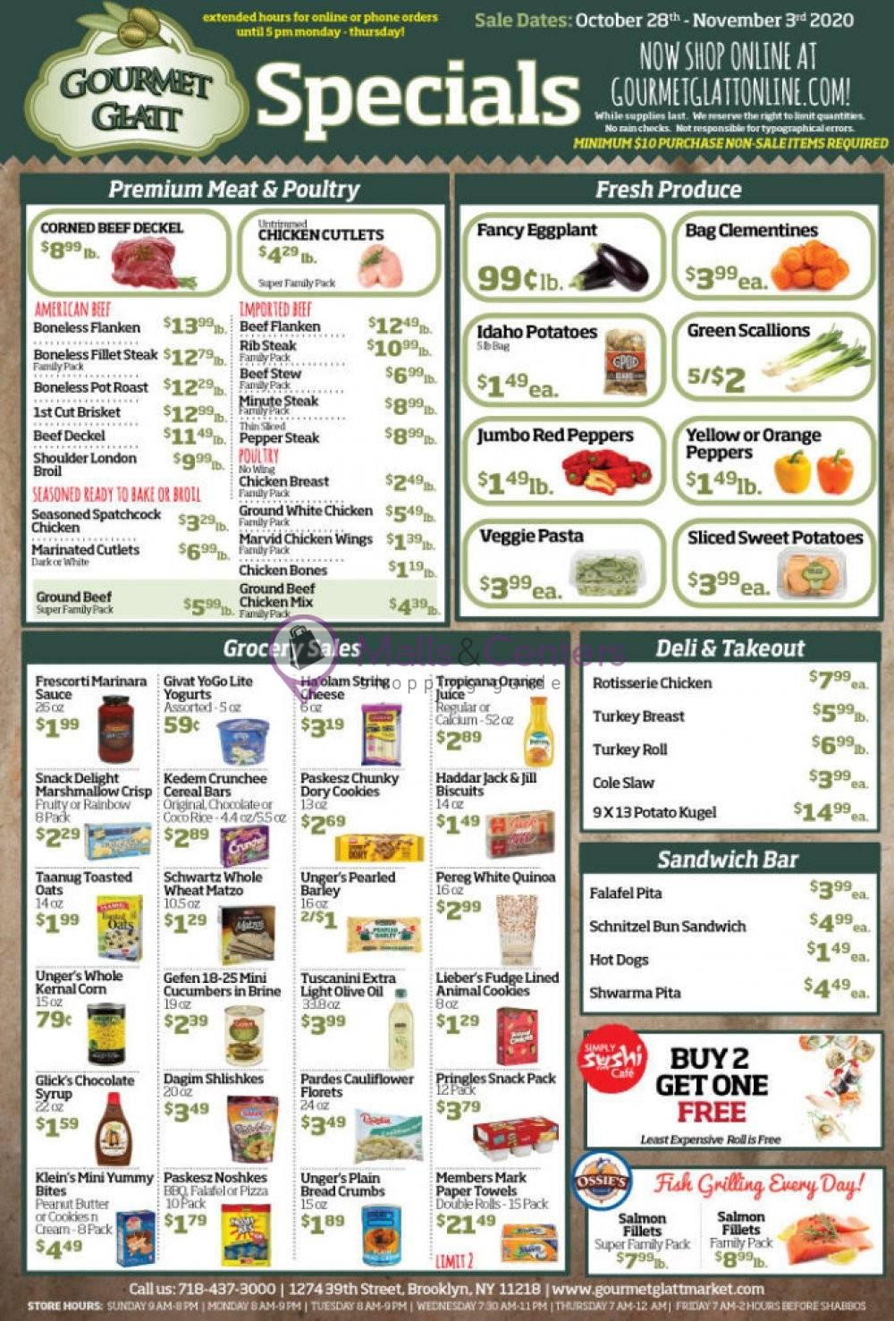 weekly ads Gourmet Glatt Market - page 1 - mallscenters.com
