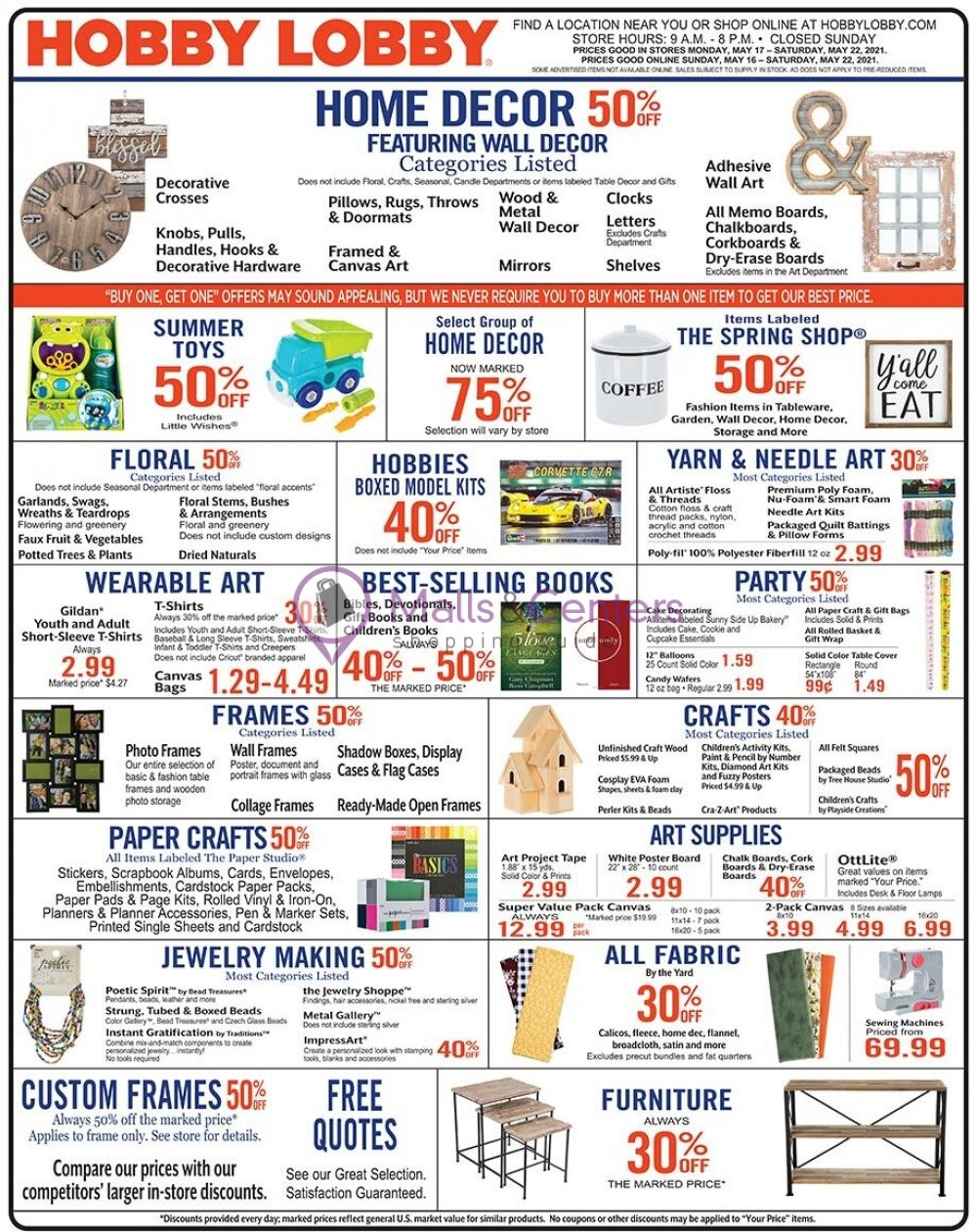 weekly ads Hobby Lobby - page 1 - mallscenters.com