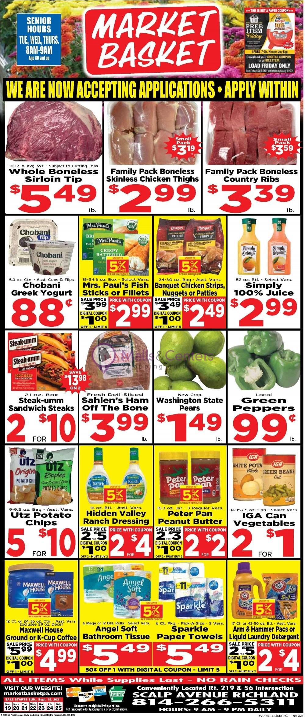 weekly ads Market Basket PA - page 1 - mallscenters.com
