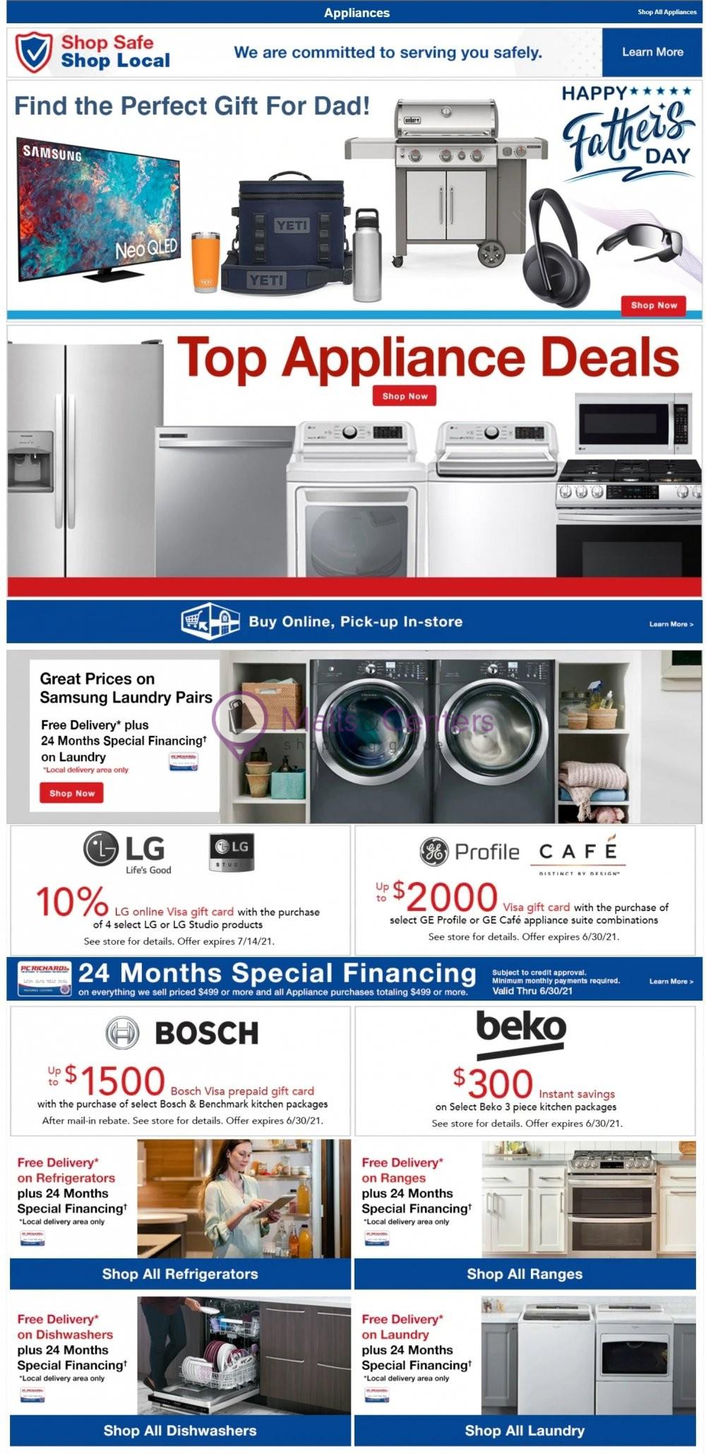 weekly ads P.C. Richard & Son - page 1 - mallscenters.com