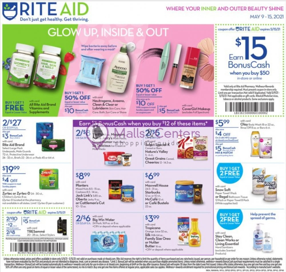 weekly ads Rite Aid Pharmacy - page 1 - mallscenters.com
