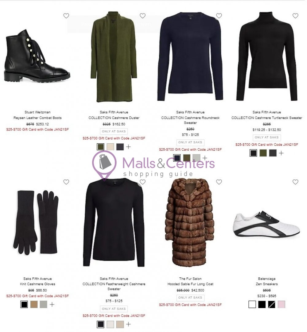 weekly ads Saks Fifth Avenue - page 1 - mallscenters.com