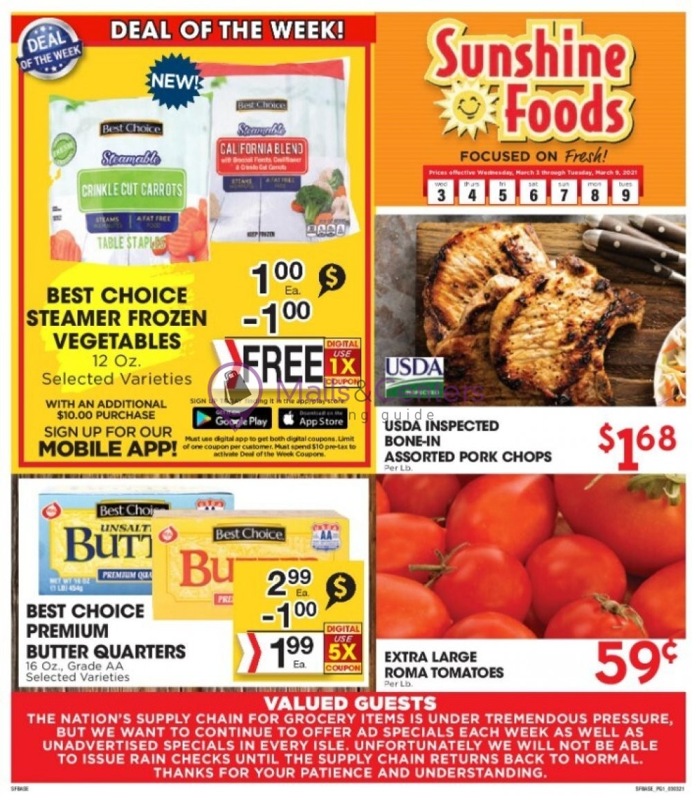 weekly ads Sunshine Foods - page 1 - mallscenters.com