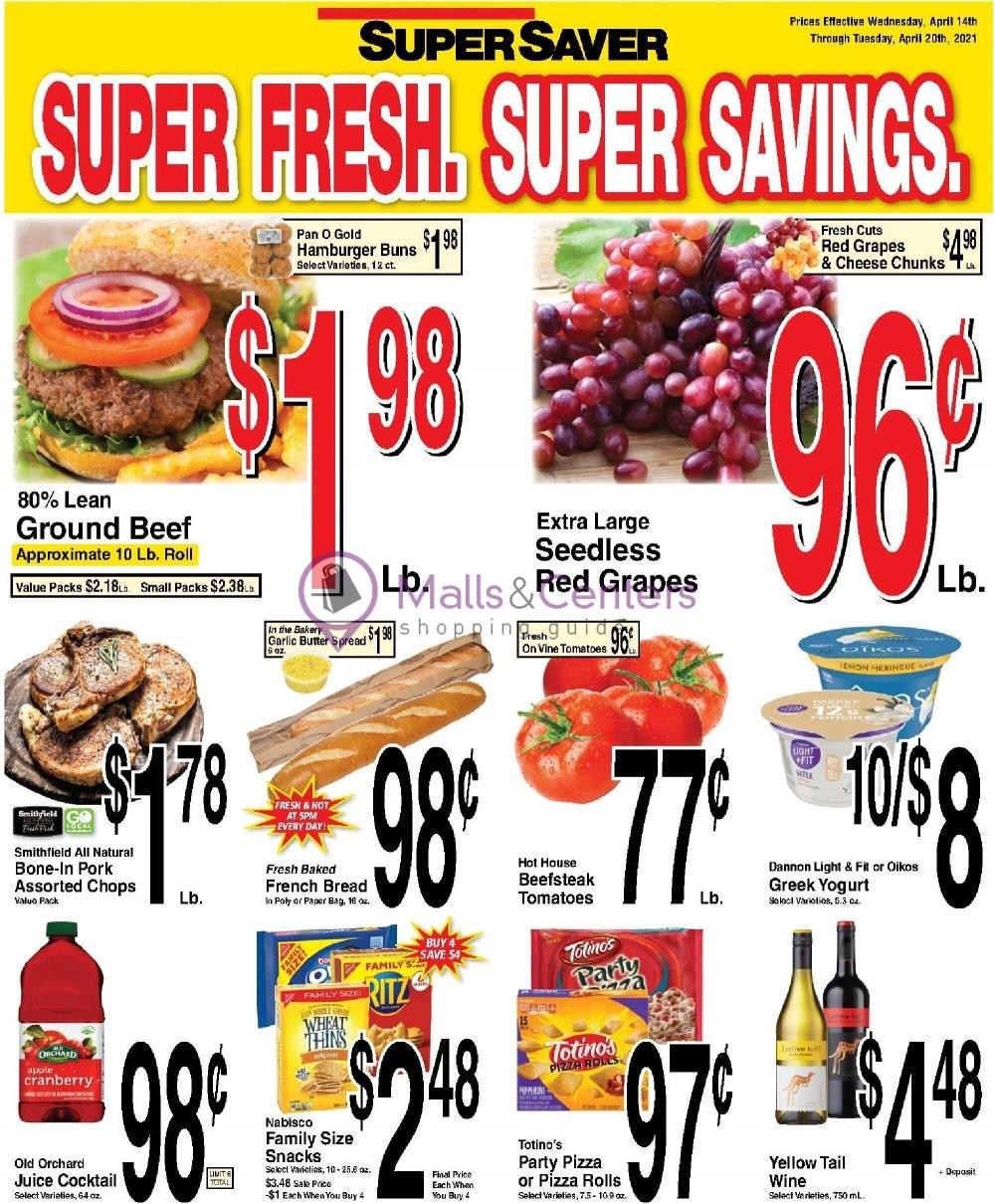 weekly ads Super Saver - page 1 - mallscenters.com